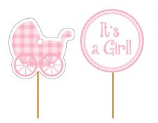 'It's a Girl!' Cupcake Toppers